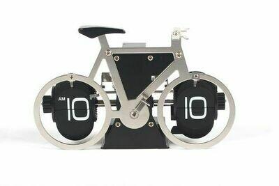 Tisch / Wanduhr Flip, Fahrrad, silber