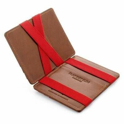 Flap Boy Slim RFID, Dark Brown | Red