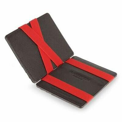 Flap Boy Slim RFID, Saffiano brown | red