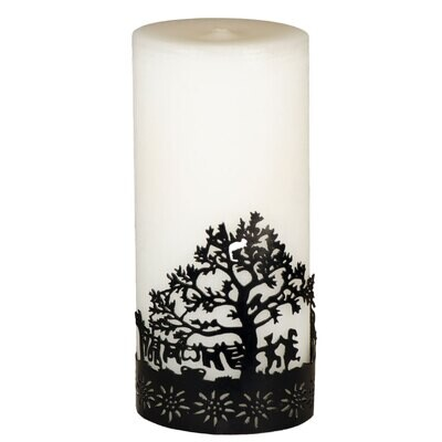 Kerze mit Metallring Baum 17 cm – ohne Duft