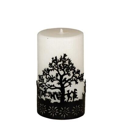 Kerze mit Metallring Baum 12 cm – ohne Duft