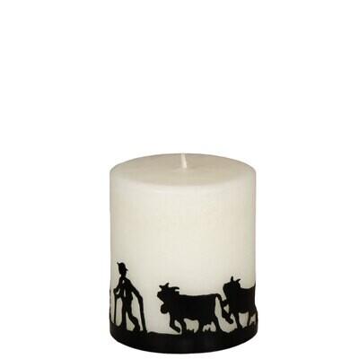 Kerze mit Metallring Baum 8 cm – ohne Duft