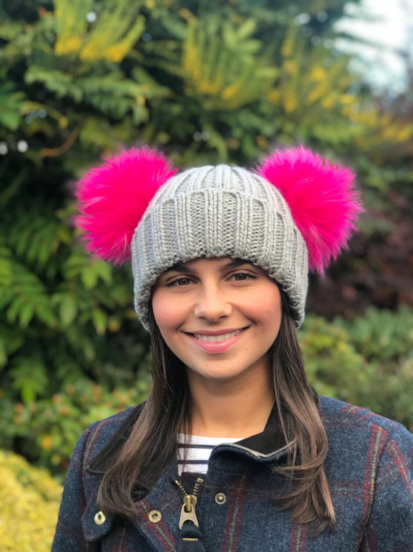 Double Faux Fur  Pompom Beanie Hat