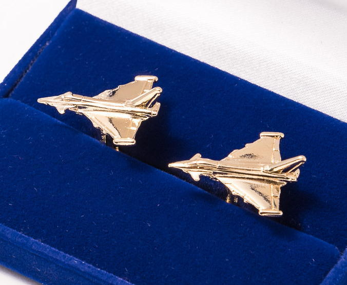 Eurofighter Typhoon Cufflinks Gold Plated