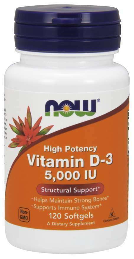 Now Vitamin D-3 5000 IU -120 kapsula