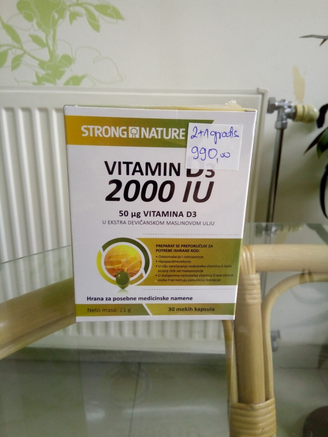 Vitamin D3 2000IU  30 mekih kapsula (2 + 1 gratis)- Strong Nature