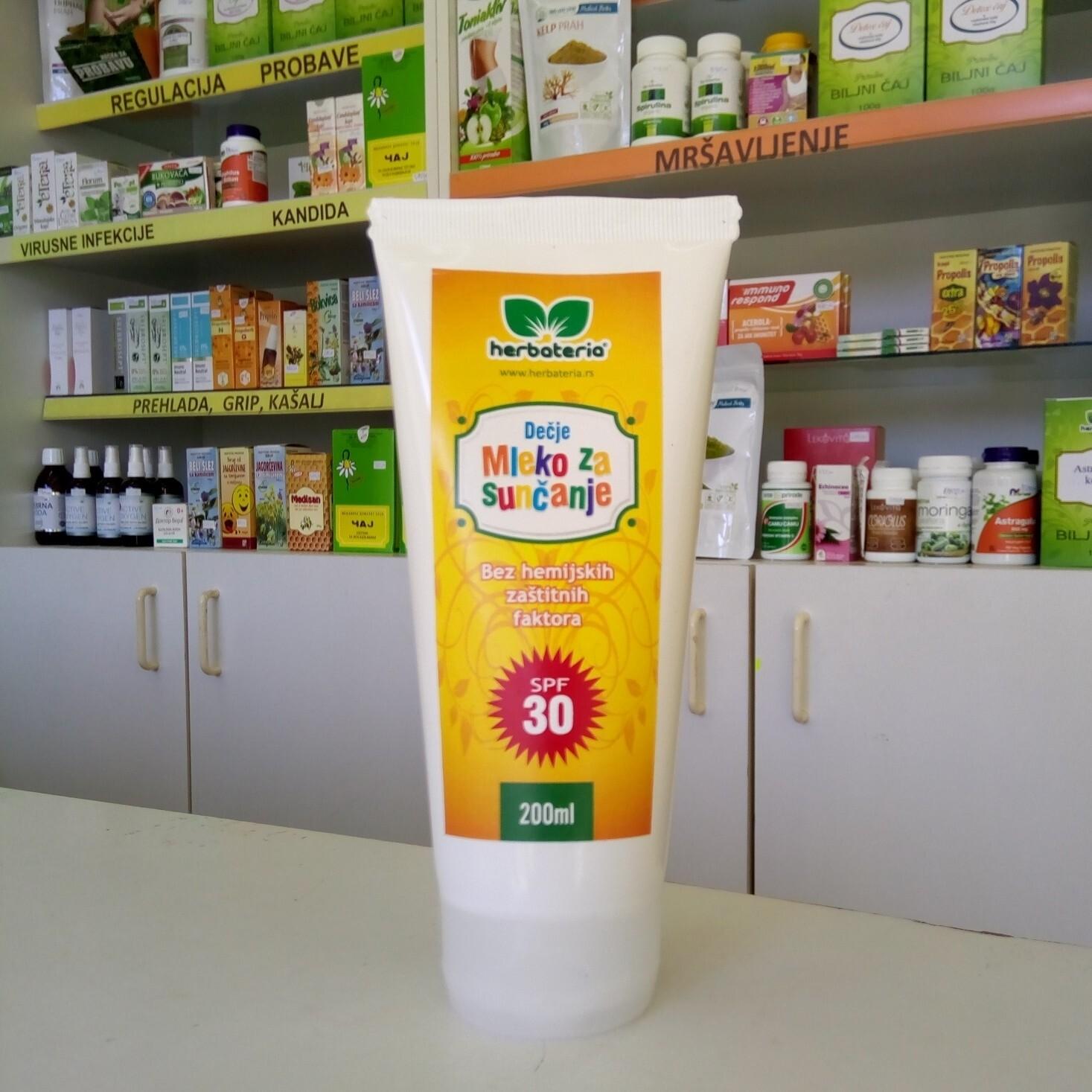 Herbateria - Mleko za sunčanje za decu SPF 30 (bez hemijskih zaštitnih faktora) 200 ml