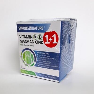 Strong Nature vitamin K, D, Mangan i Cink 30 kps 1+1 gratis