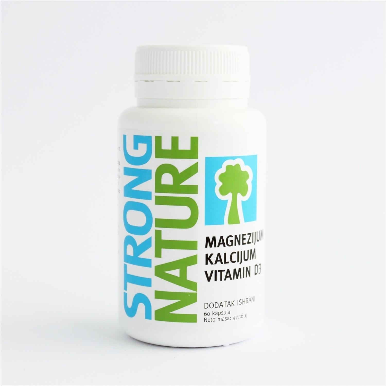 Strong Nature - Magnezijum, kalcijum i vitamin D3 (60 kapsula)