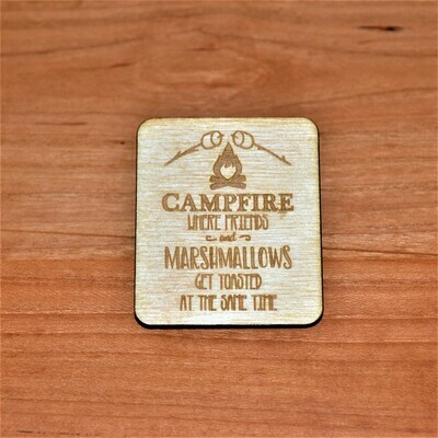 Campfire Friends and Marshmallows Get Toasted  Wooden Magnet