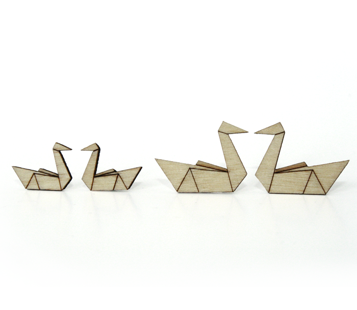 Origami Wood / Swan / small UDSOLGT & UDGÅET! or_wo_sw_sm