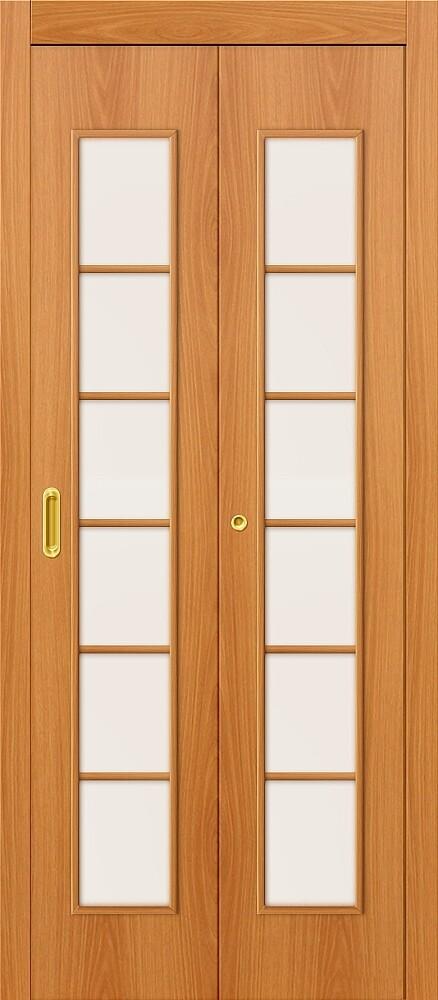 Дверь складная (книжка) межкомнатная ламинированная 2С Л-12 МиланОрех стекло сатинато белое