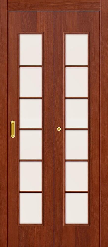 Дверь складная (книжка) межкомнатная ламинированная 2С Л-11 ИталОрех стекло сатинато белое