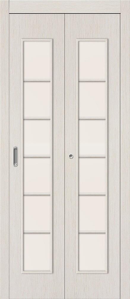 Дверь складная (книжка) межкомнатная ламинированная 2С Л-21 БелДуб стекло сатинато белое