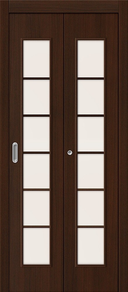 Дверь складная (книжка) межкомнатная ламинированная 2С Л-13 Венге стекло сатинато белое
