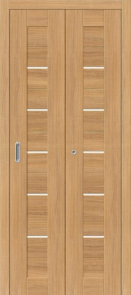 Дверь складная (книжка) межкомнатная Эко Шпон Порта-22 Anegri Veralinga стекло сатинато белое