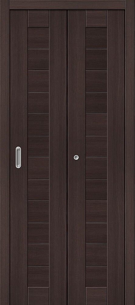 Дверь складная (книжка) межкомнатная Эко Шпон Порта-21 Wenge Veralinga