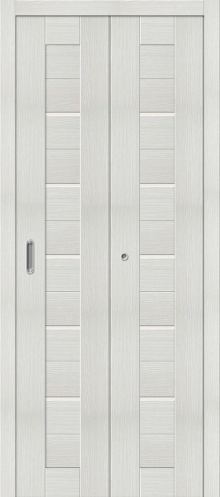 Дверь складная (книжка) межкомнатная Эко Шпон Порта-22 Bianco Veralinga стекло сатинато белое