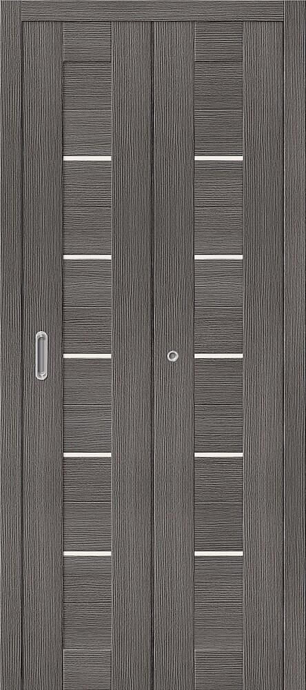 Дверь складная (книжка) межкомнатная Эко Шпон Порта-22 Grey Veralinga стекло сатинато белое