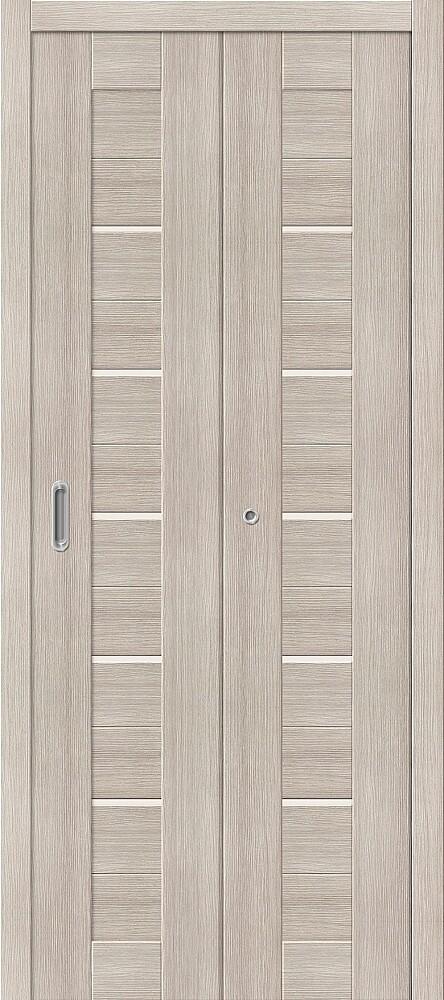 Дверь складная (книжка) межкомнатная Эко Шпон Порта-22 Cappuccino Veralinga стекло сатинато белое