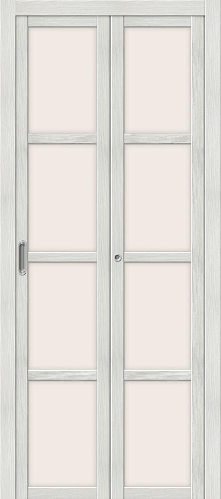 Дверь складная (книжка) межкомнатная Эко Шпон Твигги V4 Bianco Veralinga стекло сатинато белое