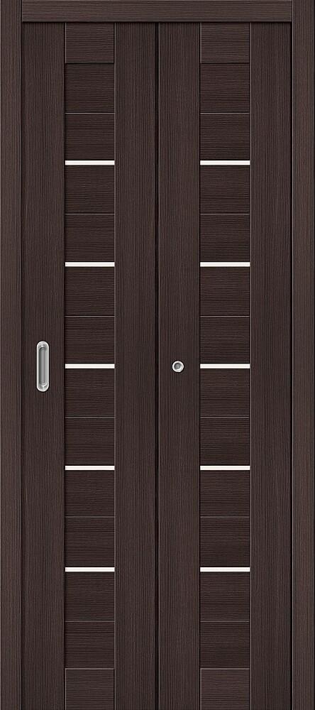 Дверь складная (книжка) межкомнатная Эко Шпон Порта-22 Wenge Veralinga стекло сатинато белое