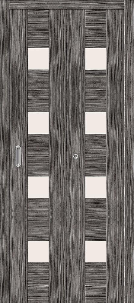 Дверь складная (книжка) межкомнатная Эко Шпон Порта-23 Grey Veralinga стекло сатинато белое