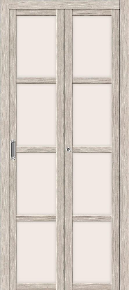 Дверь складная (книжка) межкомнатная Эко Шпон Твигги V4 Cappuccino Veralinga стекло сатинато белое
