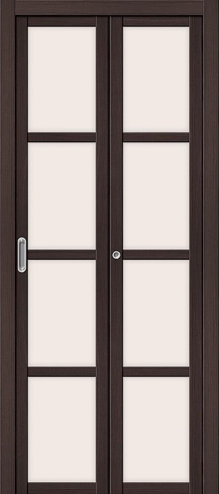 Дверь складная (книжка) межкомнатная Эко Шпон Твигги V4 Wenge Veralinga стекло сатинато белое