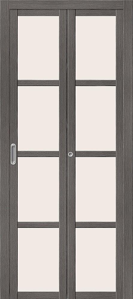 Дверь складная (книжка) межкомнатная Эко Шпон Твигги V4 Grey Veralinga стекло сатинато белое