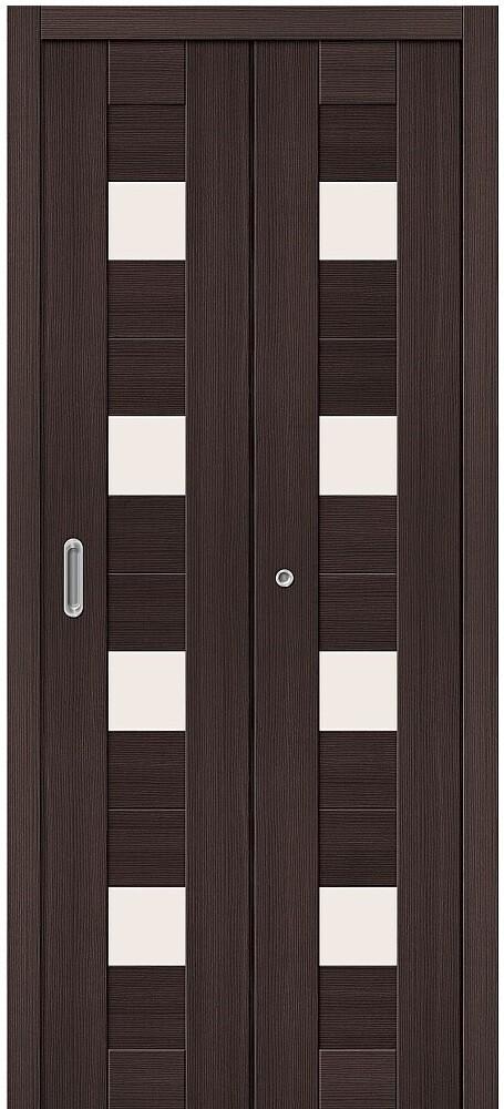 Дверь складная (книжка) межкомнатная Эко Шпон Порта-23 Wenge Veralinga стекло сатинато белое