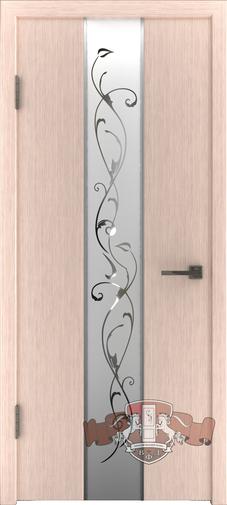 Межкомнатная дверь «Токио» 16ДО5 беленый дуб зеркало №1