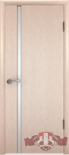 Межкомнатная дверь «Рондо триплекс» 8ДГ5 ТР беленый дуб узкое белое стекло
