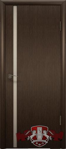 Межкомнатная дверь «Рондо триплекс» 8ДГ4 ТР венге узкое белое стекло