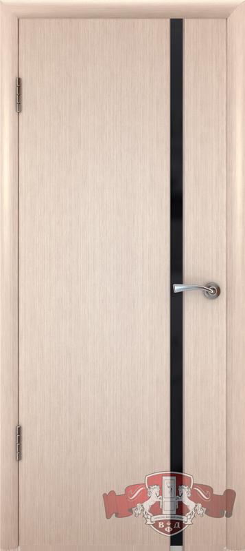 Межкомнатная дверь «Рондо триплекс» 8ДГ5 Ч ТР беленый дуб узкое черное стекло