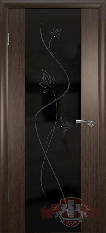 Межкомнатная дверь «Рондо триплекс» 8ДО4 ЧТР венге широкое черное стекло