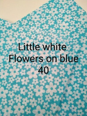 Little white flowers on Blue 40 Polycotton Triple Layered Face Masks