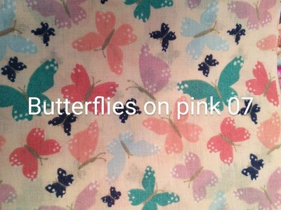 Butterflies on Pink 07 Polycotton Triple Layered Face Masks