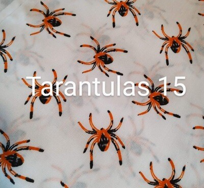 Tarantulas on White 15 Polycotton Triple Layered Face Masks
