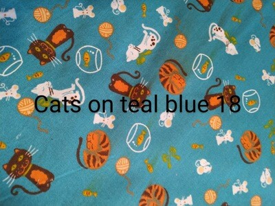 Cats on Teal 18 Polycotton Triple Layered Face Masks