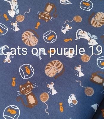 Cats on Purple 19 Polycotton Triple Layered Face Masks