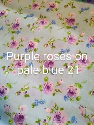 Purple Roses on Blue 21 Polycotton Triple Layered Face Masks