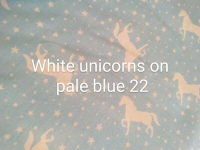 White Unicorns on Blue 22 Polycotton Triple Layered Face Masks