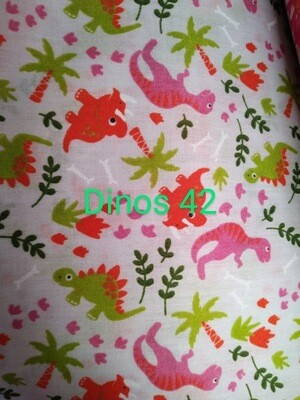 Pink and Green Dino's on White 42 Polycotton Triple Layered Face Masks