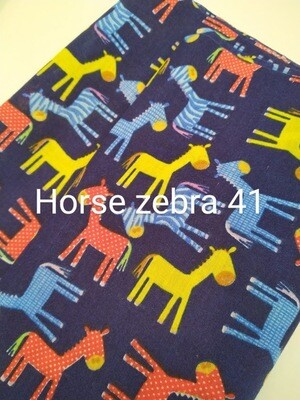 Horse Zebra on Dark Blue 41 Polycotton Triple Layered Face Masks