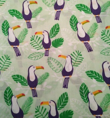 Toucans on Pale Green 60 Polycotton Triple Layered Face Masks
