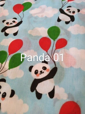Pandas on Blue 01 Polycotton Triple Layered Face Masks