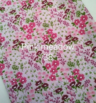 Pink Meadow Flowers 38 Polycotton Triple Layered Face Masks