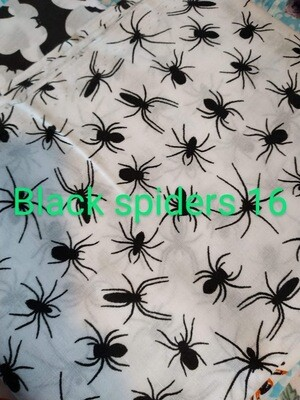 Black Spiders on White 16 Polycotton Triple Layered Face Masks