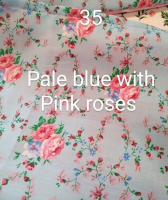 Pink Roses on Pale Blue 35 Polycotton Triple Layered Face Masks